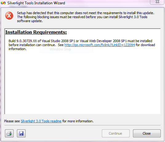 Silverlight 3 Tools installation error